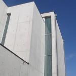 Apertura verticale in vetro Madras® mod. Fili. Il suo motivo a lunghe e strette fasce satinate, simili a fili d'erba stilizzati e giganti, eleva verso l'alto i prospetti della costruzione.